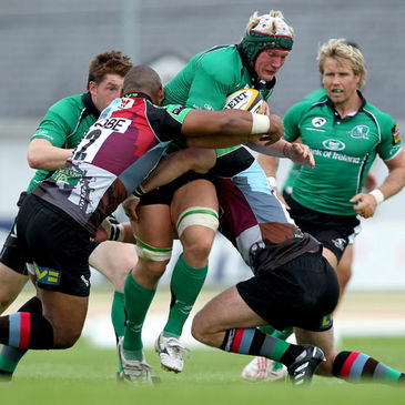 Connacht number 8 Mike McComish in action against Harlequins
