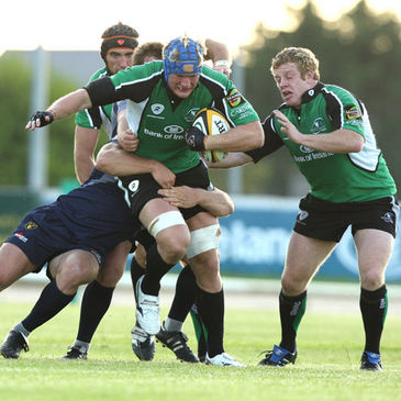 Number 8 Mike McComish powers forward for Connacht
