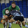 Michael Swift, Connacht's most-capped player, is supported by Mike McComish as he takes the ball into contact