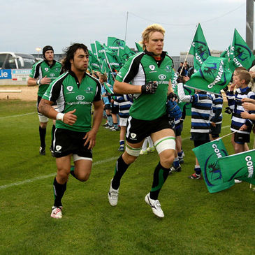 Connacht's Troy Nathan and Mike McComish