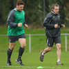 The squad's physio Cameron Steels runs with Mike Ross with the Leinster prop hoping to prove his fitness for the first Test against the All Blacks