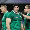 Mike Ross receives a congratulatory pat from front row colleague Sean Cronin after helping to win a penalty for Ireland, who had moved 26-6 clear