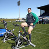 Back on the pitch at the Taupo venue, the 12-times capped Mike Ross is pictured warming up on an exercise bike