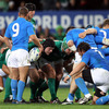 Mike Ross is pictured on the tighthead side of the Irish scrum as Italy's Fabio Semenzato waits to feed the ball in
