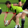 Munster Academy player Mike Sherry, a late try scorer against Benetton Treviso, prepares to pop a pass to a team-mate
