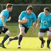 Uncapped hooker Mike Sherry is supported by Brian O'Driscoll and Declan Fitzpatrick as the players take part in a training session