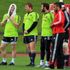 Hooker Mike Sherry is pictured sharing a joke with team-mates Stephen Archer, Barry Murphy, Peter O'Mahony and Simon Zebo