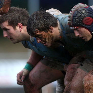 The Garryowen front row prepare for a scrum