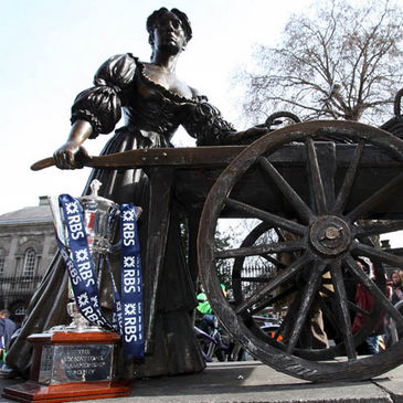 The Six Nations trophy at the Molly Malone statue