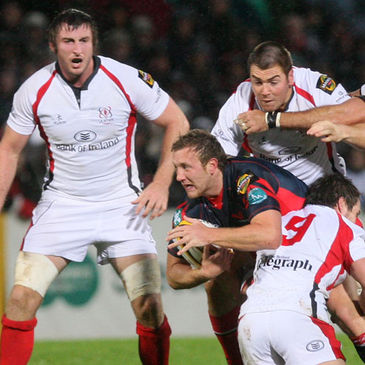 Scarlets full-back Morgan Stoddart is stopped in his tracks