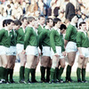 Moss and his Ireland team-mates are pictured lining up for the national anthem at Lansdowne Road in 1984