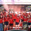 The fireworks and champagne corks pop as Mick O'Driscoll and Paul O'Connell lift the Magners League trophy for Munster