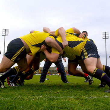 The Munster front rowers training at Thomond Park