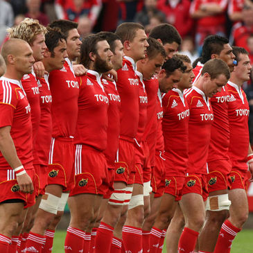 The Munster players line up at Musgrave Park