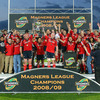 The Munster players raise the roof at Thomond Park as they collect the Magners League trophy