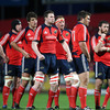 Members of the Munster pack, including replacements Donnacha Ryan and Tony Buckley, look on during a break in play