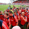 The victorious Munster players head for the dressing rooms at Thomond Park after a job well done