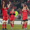 James Coughlan, Scott Deasy and Denis Hurley salute the Munster fans after a win which qualifies the province for the Amlin Challenge Cup quarter-finals