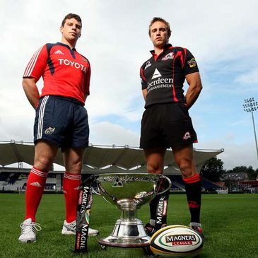 Munster's Denis Leamy with Edinburgh captain Mike Blair