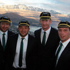 Geordan Murphy, Rory Best, Leo Cullen and Denis Leamy are pictured wearing their Rugby World Cup caps in Queenstown