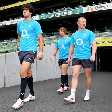Conor Murray, Jerry Flannery and Keith Earls at the Aviva Stadium