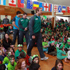 The young pupils were all out in green to show their support for Ireland and had drawn and coloured in the flags of the 20 competing Rugby World Cup teams