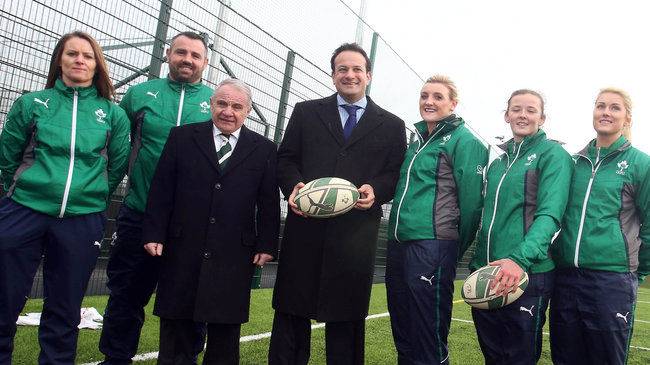 The Irish rugby contingent at the launch in Blanchardstown