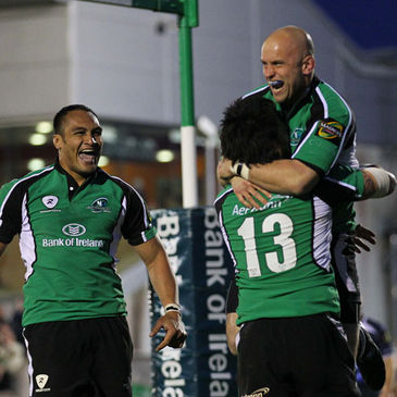 Connacht's George Naoupu, Troy Nathan and Adrian Flavin