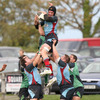 Belfast Harlequins replacement Neil Montgomery is well-supported as he gathers a lineout ball at Ballymacarn Park