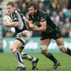 Connacht winger Liam Bibo tries to get away from Northampton's Ireland-capped flanker Neil Best