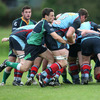 Belfast Harlequins number 8 Neil McComb is caught at the back of a scrum by 'Hinch scrum half Harry McAleese, who kicked a late penalty