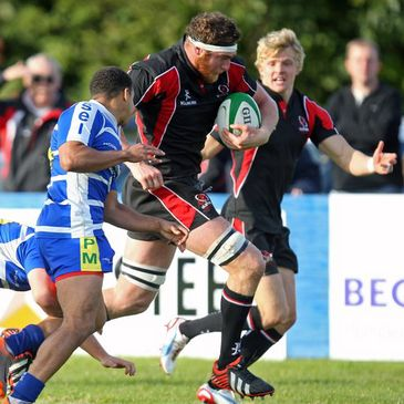 Neil McComb charges towards the try-line for Ulster Ravens