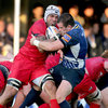 Leinster flanker Shane Jennings gets to grips with Edinburgh's Netani Talei who broke from the back of a scrum