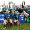 The three 'old hands' in the squad, captain Fiona Coghlan, Joy Neville and Lynne Cantwell, are showered in champagne as Coghlan lifts the trophy