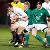 Ireland Under-20 centre Nevin Spence challenges England full-back Jack Wallace during Friday's clash