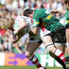 Nevin Spence is closed down by Dubliner James Downey, who has played for every province bar Ulster