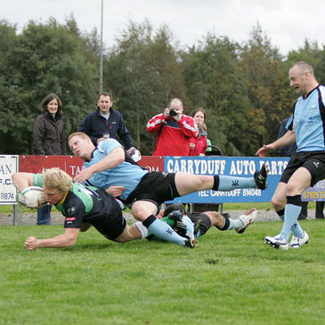 Ballynahinch winger Nevin Spence stretches for the try-line against Galwegians