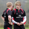 Centre Nevin Spence and winger Andrew Trimble talk tactics during Tuesday's squad session in Belfast