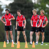 Nevin is shown alongside his Ulster back-line colleagues Jared Payne, Craig Gilroy and Luke Marshall as they gear up for the Heineken Cup semi-final against Edinburgh