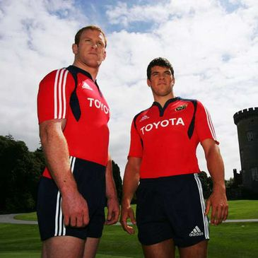 Paul O'Connell and Donncha O'Callaghan in the new Munster kit
