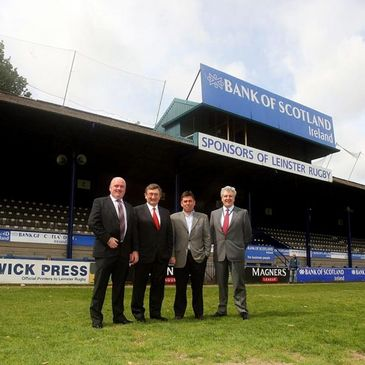 Delegates from Michael McNamara & Co. pose with Leinster Rugby CEO Mick Dawson