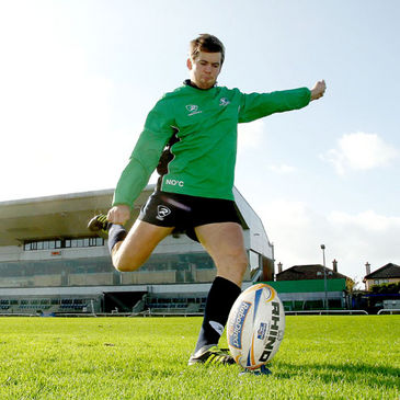 Niall O'Connor practises his kicking at the Sportsground