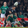 Niall Ronan loses possession as he is double teamed by the New Zealand Maori cover