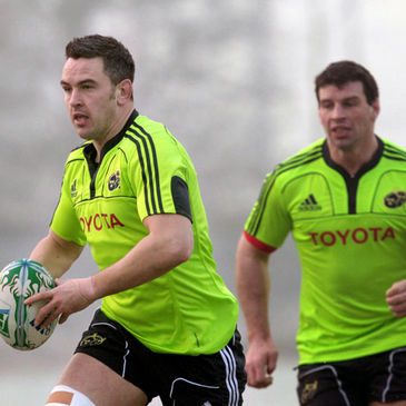 Munster's Niall Ronan and Denis Leamy