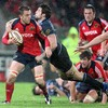 Glasgow's John Beattie gets across to tackle Munster replacement Niall Ronan during a competitive final quarter