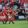 Tony Buckley and Niall Ronan, two of Munster's try scorers on the night, try to set up an attack