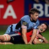 Cardiff's Ben Blair is powerless to stop Munster flanker Niall Ronan from going over for a second-minute try