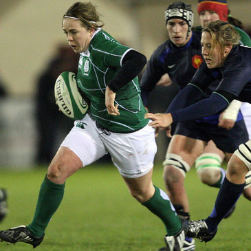 Ireland full-back Niamh Briggs in action against France