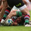 Harlequins' England-capped number 8 Nick Easter lays the ball back on the deck