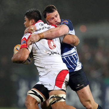 Cian Healy tackles Nick Williams during an interprovincial derby